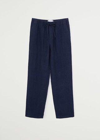 Straight linen-blend pants - Women | Mango USA