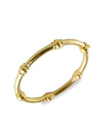 Elizabeth Locke Hammered 19K Yellow Gold 6-Barrel Heavy Wire Bangle Bracelet | SaksFifthAvenue