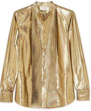 Pintucked Lamé Shirt - Gold