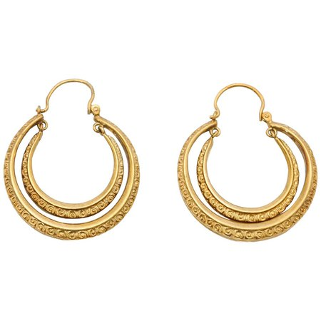 Double Creole Gold Hoop Earrings