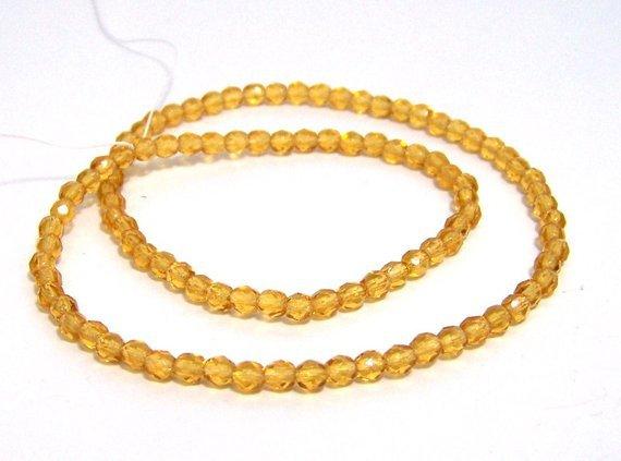 Czech Glass Beads faceted 4mm honey yellow Full Bead Strand
