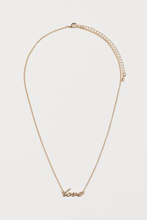 Short Pendant Necklace - Gold-colored/Love - Ladies | H&M US