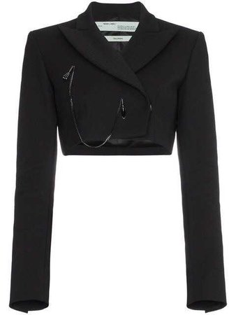 Off-White cropped blazer with chain.