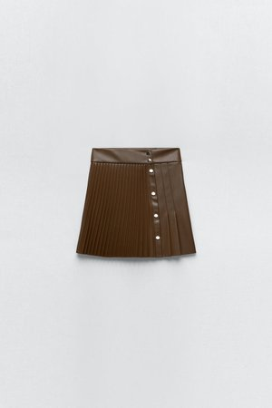 FAUX LEATHER PLEATED SKIRT   ZARA United States