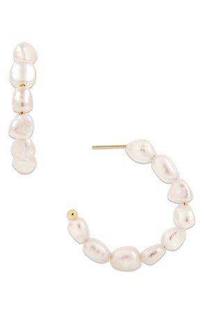 Ellie Vail Yasmine Cultured Pearl Hoop Earrings | Nordstrom