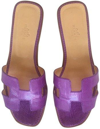 Oran Purple Lizard Sandals