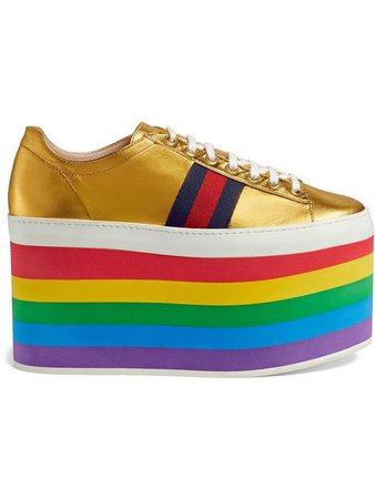 Gucci кроссовки с эффектом металлик на платформе на Farfetch. Эксклюзивные коллекции и акции для постоянных клиентов.