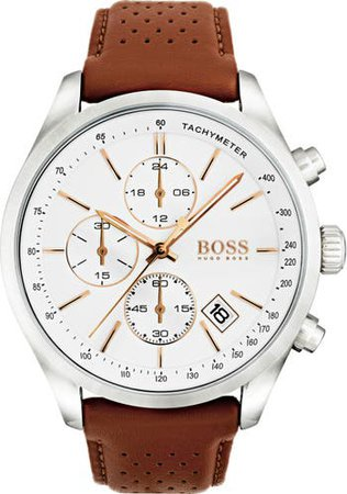 Grand Prix Chronograph Leather Strap Watch, 44mm | Nordstrom