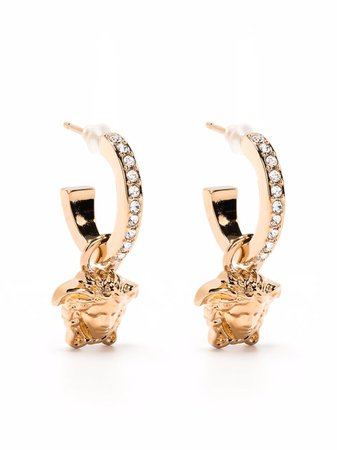 Versace Embellished Medusa Hoop Earrings - Farfetch