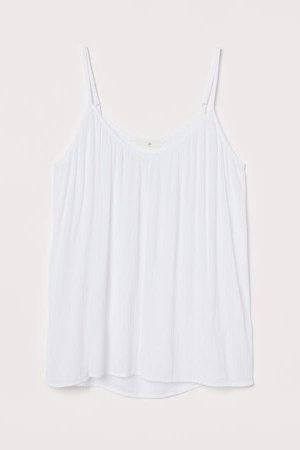 Crinkled Tank Top - White