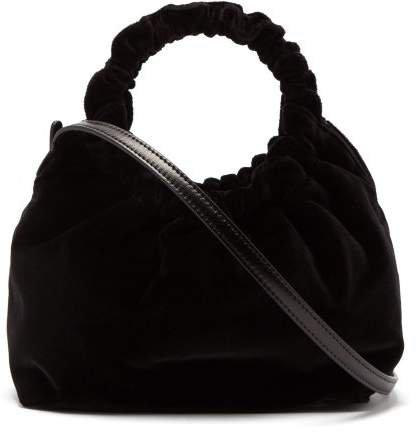 Double Circle Small Velvet Bag - Womens - Black
