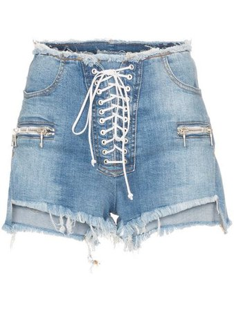 Unravel Project high waisted lace up denim shorts £510 - Shop SS19 Online - Fast Delivery, Free Returns