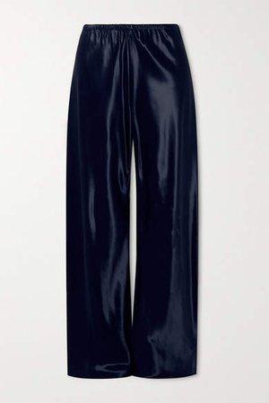 Gala Satin Wide-leg Pants - Navy