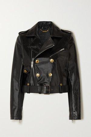 Button-embellished Textured-leather Biker Jacket - Black