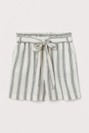 Linen-blend Paper-bag Shorts - White