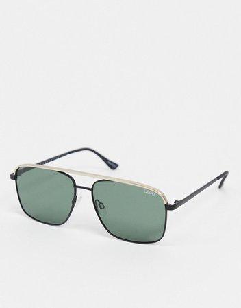 Quay Australia Poster Boy slim aviator sunglasses in green | ASOS