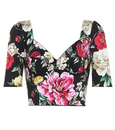 Floral-printed crop top