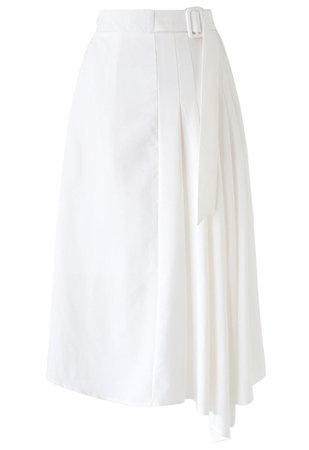 Chic Wish Pleated Details Belted Midi Skirt in White - Retro, Indie and Unique Fashion