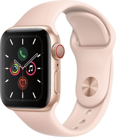 Apple Apple Watch Series 5 (GPS + Cellular) 40mm Gold Aluminum Case with Pink Sand Sport Band Gold Aluminum (AT&T) MWWP2LL/A - Best Buy