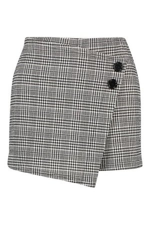 Check Skort With Button Detail | Boohoo