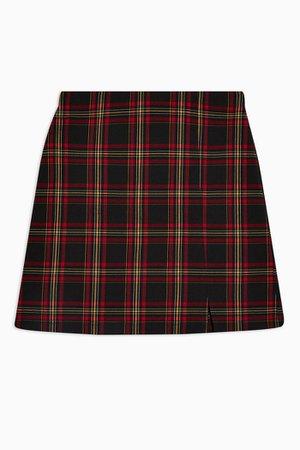 PETITE Red Tartan Check Mini Skirt | Topshop