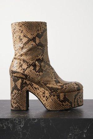 Snake-effect Leather Platform Ankle Boots - Beige