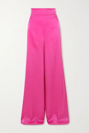 Fuchsia Satin wide-leg pants   David Koma   NET-A-PORTER