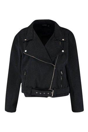 Plus Washed Black Denim Biker Jacket | Boohoo