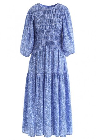 Richly Floret Dots Shirred Maxi Dress in Blue - NEW ARRIVALS - Retro, Indie and Unique Fashion