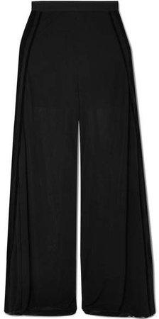 Velvet-trimmed Chiffon Wide-leg Pants - Black