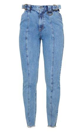 Mid Blue Wash D Ring Mom Jeans | Denim | PrettyLittleThing USA