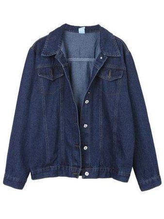 Vintage Solid Lapel Pockets Denim Jacket