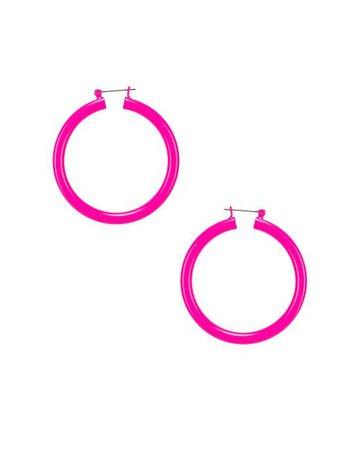 Luv Aj Rainbow Amalfi Hoop Earrings in Neon Pink (Pink) - Lyst