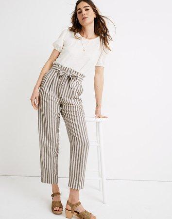 Striped Linen-Blend Paperbag Pants