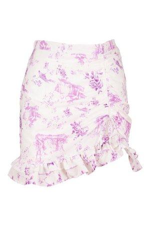 Ruffle Front Floral Mini Skirt   Boohoo UK