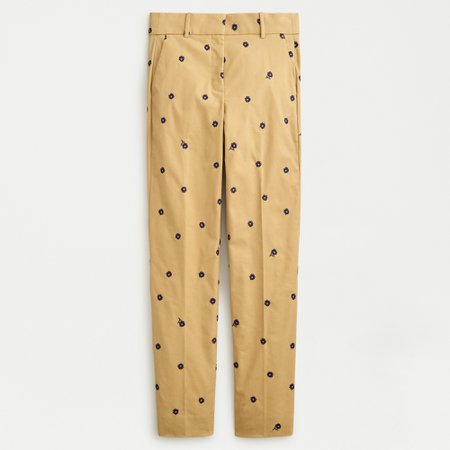 J.Crew: Cameron Pant In Embroidered Sateen Chino For Women