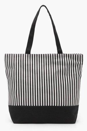 Mono Stripe Beach Bag | Boohoo