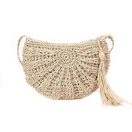QZUnique Women's Straw Handbag Beach Crossbody Bag Straw Woven Shoulder Bag In Summer