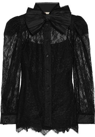 Pussy-bow Chantilly Lace Blouse - Black