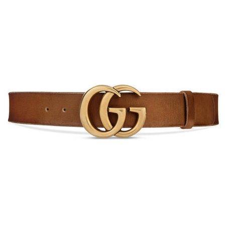 Leather belt with Double G buckle - Gucci Women's Belts 409416CVE0T2535