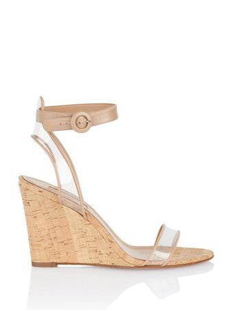 Aquazzura | Nude Leather Minimalist Wedge – Fivestory New York