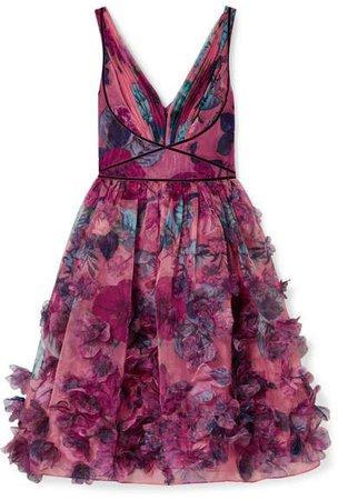 Velvet-trimmed Printed Organza Dress - Pink