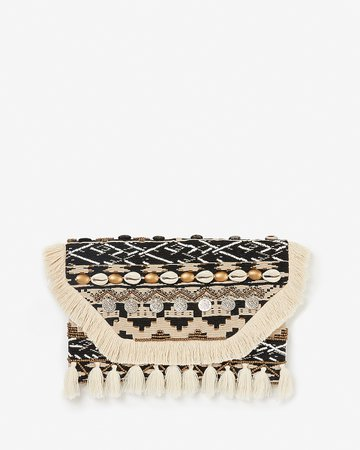 Embellished Puka Shell Coin Clutch | Express