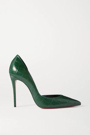 Green Iriza 100 croc-effect leather pumps | Christian Louboutin | NET-A-PORTER