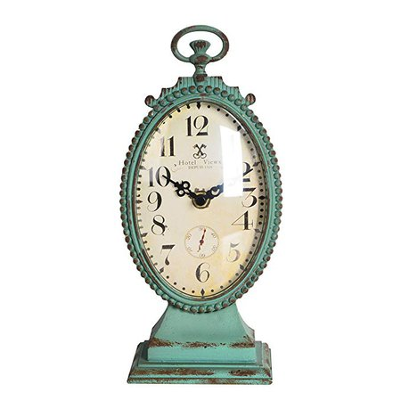 NIKKY HOME Shabby Chic Pewter Round Table Clock Distressed Style, Green: Home & Kitchen