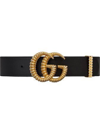 Shop black Gucci Leather belt with torchon Double G buckle with Express Delivery - Farfetch