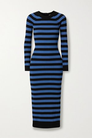 Blue Striped stretch-knit midi dress | MICHAEL Michael Kors | NET-A-PORTER