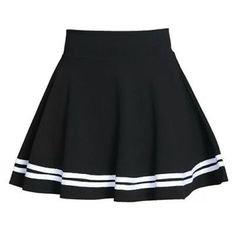 black stripped skirt