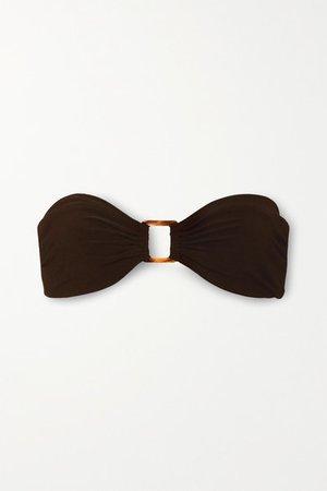 Embellished Bandeau Bikini Top - Dark brown