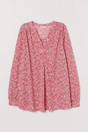 MAMA V-neck Blouse - Pink